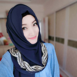 Wholesale Turban Muslim Hijab - Muslim Hijab Jersey Scarf Women Head Coverings Femmes Turban Hijabs Gray Islamic Veil Stretch Bandana Fashion Big Size