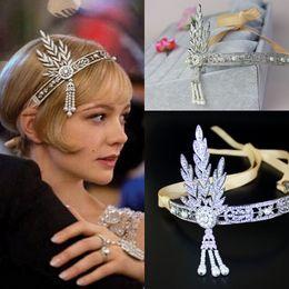 Wholesale Gatsby Headpiece - lapper 1920s Great Gatsby Tiaras & Hair Accessories Party Prom Hairband Rhinestone Crystal Bridal Headpiece In Stock Pearl Wedding Headwear