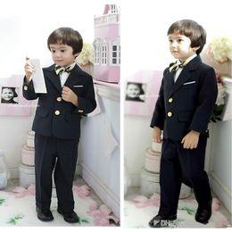 Wholesale Toddler Gray Black Dresses - Boy's Formal Wear 2015 Two Button Black Custom Made Little Toddler Big Boys Dress Suit Tuxedo