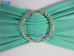 Wholesale Turquoise Spandex Chair Bands - Good quality Turquoise Spandex Band Strench Lycra With Removable Rhinestone Metal Buckle For Wedding Party Chair Cover Decorations