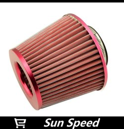 Wholesale Air Filter Vw - New Red Cold Air Intake Filter   Car Vehicle High Flow Air Filter   Adapter Neck:76mm Universal For Honda VW BMW