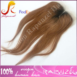 Wholesale Two Parting Wigs - Unprocessed human Virgin Hair Middle Part Ombre Lace Closure 4x4 Aurban Ombre Closure #1b#30,Two tone Lace closure