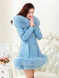 Wholesale Sheepskin Fox Fur Coat - 2016 winter women The high-end atmosphere Parka Fox fur collar overcoat Genuine Leather coat Sheepskin jacket