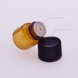 Wholesale Popular Samples - Most Popular 1000pcs lot 1mL Mini Amber Glass Essential Oil Bottle Empty Sample Vials Brown Refillable Bottles With Orifice Reducer & Cap
