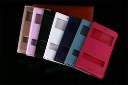 Argentina Flip View Funda de cuero Fundas Smart Touch Sleep Fundas con carcasa de puerta con ventana abierta para Sony Xperia Z2 Z3 Mini Z4 Z5 C5 M5 E3 T3 Suministro