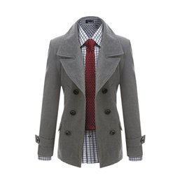 Wholesale Mens Gray Trench Coat - New Korean fashion mens wool trench casual coat overcoat loutwear double-breasted Jackets casaco masculino Men's Clothing