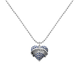 Wholesale wholesale firefighter - Single-side Heart Necklace Colorful Crystal Pendant Necklaces DIY Women Jewelry Silver Plated Word Firefighter Ball Chain For Decoration