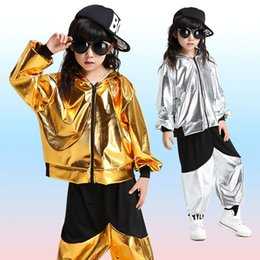 Wholesale Leather Pants For Kids - Jazz Faux Leather Gold Silver Hip Hop Dance Costumes For Kids Zipper Jackets With Hood Pant Boys Girls Street Dance Clothes