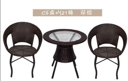 Wholesale Wicker Rattan Outdoor - Cany chair three-piece tea table. The balcony leisure outdoor furniture milk tea shop cafe tables and chairs.