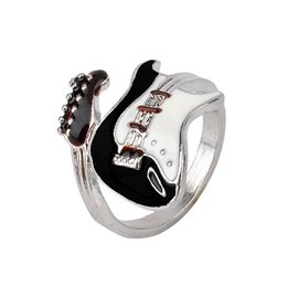 Wholesale Wedding Band Ring Couple - Personalized European Style Punk Style Bright Colorful Glazed Guitar Ring Lovers ring Couples rings Finger Rings Bague Fashion Jewellry Gift