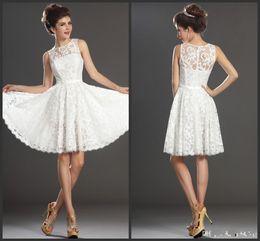 Wholesale Long White Coctail Dress - Knee Length White Lace Sheer Neckline Bridesmaid Dresses Jewel A-Line Appliqued Short Mini Sash cap sleeves Coctail Party Gowns