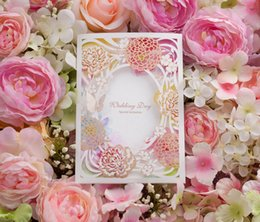 Wholesale Laser Cut Invitation Cards - Wedding Invitations Cards Laser Cut New Arrival Personalized Wedding Invitation Hollow Gliding Gold Pink Color With Butterfly