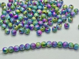Wholesale 6mm Acrylic Beads - 500 Peacock Multi-Color Stardust Acrylic Round Beads 6mm(1 4