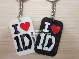 Wholesale Dog Key - I love 1D key chain, One direction dog tag, Silicon key ring, 3colours, pendant,50pcs lot, free shipping