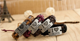 Wholesale Handmade Alloy Chains Wholesale - I love jesus Handmade Unisex Men Women's Leather Bracelet braided Tribal Bangle