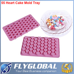 Wholesale Mini Cupcakes Silicone - 55 Holes Mini Heart Silicone Cake Mold Chocolate Fondant Jelly Cookie Muffin DIY Ice Cube Flexible Mould Flexible Moulds Cupcake Bake Tools