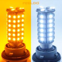 Wholesale 1157 Dual Color Bulb - FEELDO 1157 BAY15d 120SMD-1210 3528 White Amber Yellow Dual Color LED Light Bulbs SKU#:4527