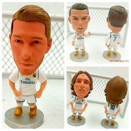 Wholesale Football Height - Soccerwe 6.5 cm Height Resin Football Star Figurine 2017-18 Season RM Team Ronaldo Asensio Isco Ramos Doll Puppets Collections New Year Gift