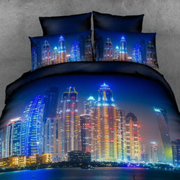 Wholesale Duvet Cover Sets City - muchun Brand Bedding Sets 4 pcs Bedding Comforter Set Duvet Covers Bed sheet 3D City Night Scene Printing Home Textiles