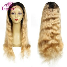 Wholesale Blond Wavy Wigs - Peruvian Ombre Human Hair Lace Front Wig 130 Density Blond Natural Wavy Wig 1bT24 Ombre Lace Front Wigs With Dark Roots Blond Hair