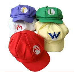 Wholesale Super Mario Cosplay Hat - Super Mario Bros Anime Cosplay Red Cap Tag Super cotton hat Super mario hats Luigi hat Super Mario Baseball Hats 5 colors Free Shipping