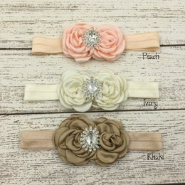 Wholesale Flower Match - Double Satin Flower Matching Sparking Rhinestone Headband Baby Headband Luxe Headband Satin Flower Headband 12pcs lot