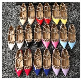 Wholesale Stud Heel Shoes - free hongkong post! b001 34 40 41 genuine leather stud flat shoes luxury designer fashion women classic bloggers 2016