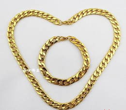 Wholesale Men S Gold Chain Necklace - Fashion Jewelry Vintage Plated 18K Gold Men' S Acrylic Link Chain   Necklace Bracelet Jewelry Set DIY Free Shipping 2 Set P291