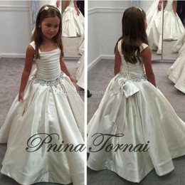 Wholesale Gorgeous Dress Girls - 2015 new Gorgeous Ivory Little Flower Gril's dresses with Lace-up Back PNINA TORNAI Beaded Birthday girls pageant gowns Flower Girl dresses