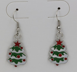 Wholesale Antique Christmas Tree - Earring , Green ENAMEL Christmas tree EARRINGS Antique silver Fishhook Ear Wire 42x15mm (ab637)