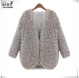 Wholesale Classy Clothing - 2015 Elegant Clothing Spring Designer Women's Brand Name Classy Roupas Feminina Fashion Grey V Neck Long Sleeve Faux Fur Coat