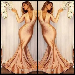 Wholesale Cheap Plus Size Formal Wear - Sexy Deep V Neck Long Sleeve Mermaid Prom Dresses 2018 New Elegant Ruffles Cheap Evening Gowns Formal Party Wear Custom Made