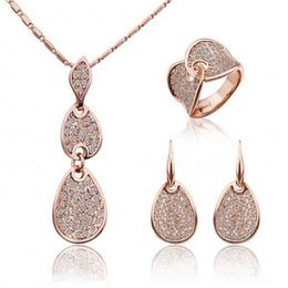 Wholesale China Pieces For Wholesale - Bridal Rings Necklace and Earrings Sets Charming Tear Drop-Shaped Crystal Rhinestone Jewelry 3 pieces Set for Party 1346