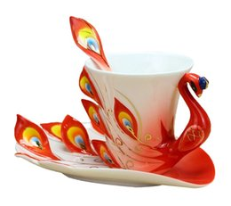 Wholesale Porcelain Cup Saucer Set - 2016 Unique Hand Crafted China Enamel Porcelain Tea Mug Coffee Cup Set with Spoon and Saucer