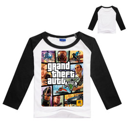 Wholesale Grand Theft Auto Gta - 3-9Years GTA 5 T-shirt Boys GAMES Clothing Boys Long Sleeve Tops Grand Theft Auto Cartoon Tops and Tees for Couples N07055