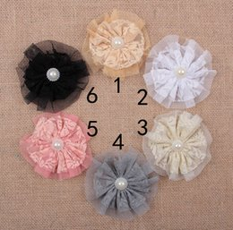 Wholesale Shabby Flowers For Headbands - Fabric Flowers Shabby Tulle Flower Artificial Satin Mesh Flower Hair Accessories Flower For DIY Christmas Headwear Headbands Hairpin AW52