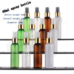 Wholesale Etching Spray - free shipping Capacity 60ml50pcs lot 60ml round shoulder bright gold foil spray bottle (with tangential)