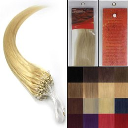 """Wholesale Light Blonde Bead Extensions - 16''-26""""Silky Straight Micro Loop ring beads Natural hair extensions Grade AAA weaving hair #613 light blonde ,100strands pack"""