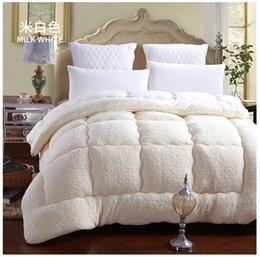 Wholesale King Size White Cotton Blanket - Wholesale-100% Fiber White Brown winter comforter quilt blanket duvet filling with cotton cover twin queen king size DHL free shipping