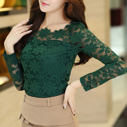 Wholesale Blusas Fashion - Wholesale-Blusas Femininas Women Plus Size 6XL Lace Blouse 2015 New Fashion Sexy Floral Tops WTL300