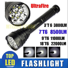 Wholesale Trustfire Mini Xml T6 - DHL ship Ultrafire Flashlight LED T6 7* CREE XML 8500LM ,3*T6 3800LM ,9*T6 11000LM 18T6 22000LM Strong Torch handlight For Camping Hiking