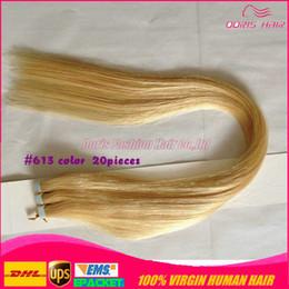 2015 yeni saç 20 adet Lot ucuz düz brezilyalı hint remy Bant Saç Uzantıları Güçlü Bant Yapıştırıcı bant içinde sarı Bant cheap indian remy tape hair extensions nereden hint remy teyp saç uzantıları tedarikçiler