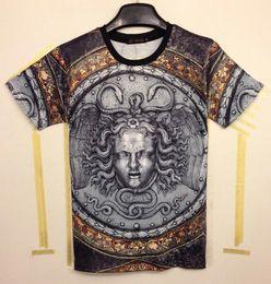 FG1509 [Mikeal] New arrival Moda Engraçado tops t-shirt dos homens 3D Tshirt impresso Cinza sliver medusa do vintage T-shirt tees MDT105 de