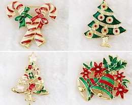 Wholesale Tin Tie Bags Wholesale - Christmas brooches pins gold plate Christmas tree snowman Santa Claus jingle bells brooch tie-pin scarf hat bag accessories child party gift