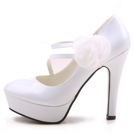 Wholesale Bride Peep Toe Shoes - 2015 White 4.8 inch High heeled Bride Wedding Shoes Lady Shoes Girl Nightclub Prom Dresses Shoes DY563-28