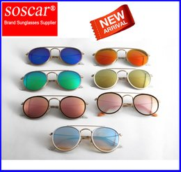 Wholesale Glass Bridges - Round Double Bridge Sunglasses Soscar 3647N Brand Designer Sunglasses Metal Frame Flash Mirror Glass Lenses 51mm Gafas de sol for Unisex
