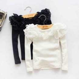 Wholesale Spring Sleeve Shirt - 2016 New Kids Girls Puff Sleeve Shirts Spring Fall Ruffles Princess Party Tops Candy Color Long Sleeve Cotton Blouse 5PCS LOT Wholesale