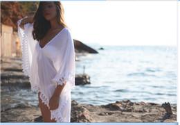 Wholesale Crochet Dress Women - 2017 Cheap Lace Crochet Loose Women Clothing Summer Beach Smock on Bikini Summer Sun-proof Swimwear Batwing Cover Up Dress OXL070306