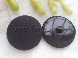 Wholesale Wholesale Black Shank Button - Wholesale-Free shipping!!!ABS plastic shank button,Wholesale Jewelry, with Cloth, Flat Round, black, 23mm, 50PCs Bag, Sold By Bag