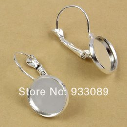 Wholesale Ear Rings Set - 58-455 20pcs 12mm Earring Cabochon setting sterling silver Plated hook blank earrings logo Lever Back Ear ring Clasps